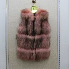 Free shipping stock sample  winter pink raccoon fur vest for women