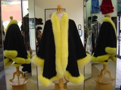 Free shipping, Drop shipping,  cashmere cape with real fox fur trim,length 90cm ,fur 4inch  no hood mult color