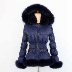 Free shipping new style winter women jackets adult women real fox fur thick duck feather down puffer coat