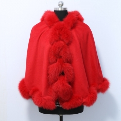 Free Shipping Cashmere shawl with Natural fox fur autumn winter ladies knit long style evening fur Cashmere cape