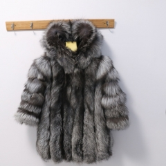 Natural Silver Fox Fur Coat
