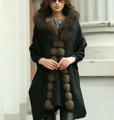 new style cashmere fox fur shawl with real fox fur trim big size 200*60cm rectangle wrap