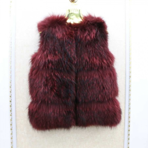 Free shipping stock sample  winter Burgundy  raccoon fur vest for women