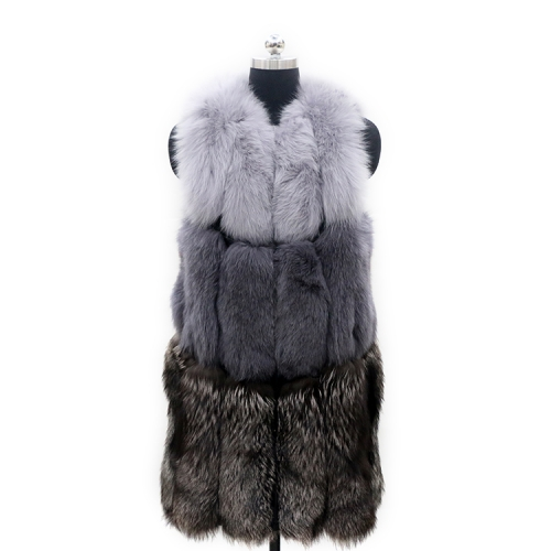 new style best quality guarantee long fox fur vest for women