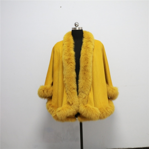Free shipping, Drop shipping, cashmere cape with real fox fur trim  length 70cm for adult without  hood fox shawl