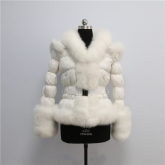 free shipping europe winter women popular multi color down wear with fox fur puffer jacket