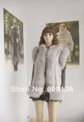 New arrival free shipping  cashmere vest with real fox fur trim/ length60cm fur waistcoat