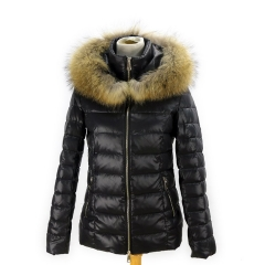 new fashion real raccoon fur hood puffer jacket for ladies
