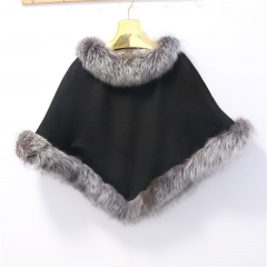 Free shipping  Women's Pashmina Scarves Shawl Cape Real Fur Shawls Cashmere Wool Real Fox Fur Ponchos