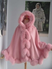 Free shipping  cashmere cape with real fox fur trim/cashmere shawl/poncho mix color   length 80cm detachable  hood