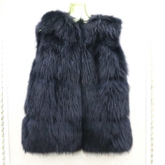 Free shipping stock sample  winter black raccoon fur vest for women