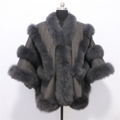 Double fox Fur trim cashmere Cape