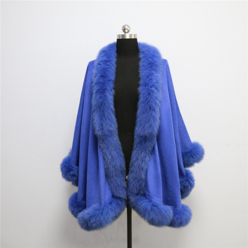 Free shipping, Drop shipping, cashmere cape with real fox fur trim  length 90cm for adult without  hood fox shawl