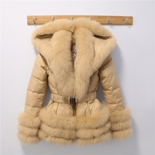 Free shipping factory wholesale price winter women big collar puffer jacket/ popular fox fur tirm with down coat