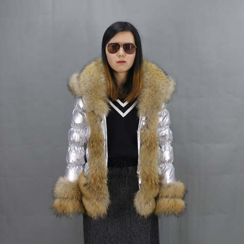 Free shipping new winter women big collar  silver  puffer jacket/ popular natural raccoon fur down coat