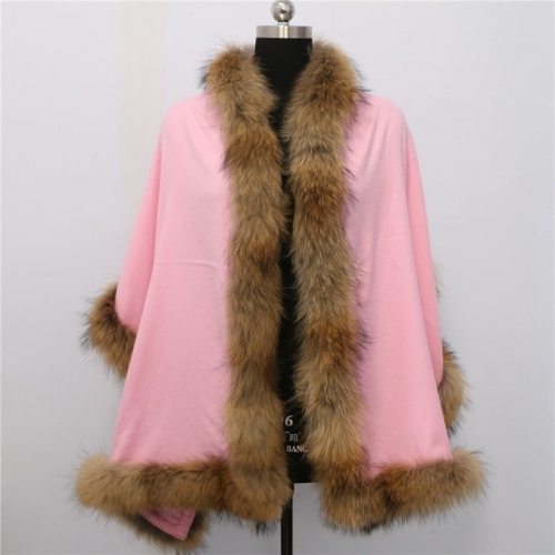 Free shipping Big Scarf Knitted Shawl Echarpe Luxury Winter Scarves and Ponchos Warm Wool raccoon fur trim  Cashmere Cape