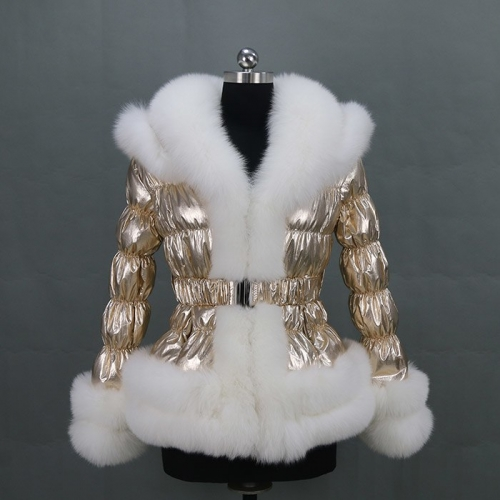 Free shipping new winter women big collar golden puffer jacket/ popular fox fur down coat