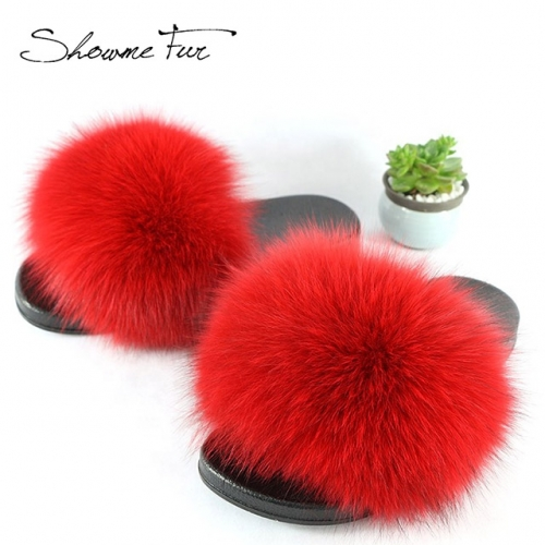 Solid color  ladies furry slippers real fox fur slides sandal