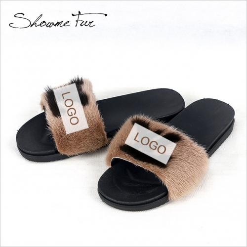 Real mink fur slippers slides