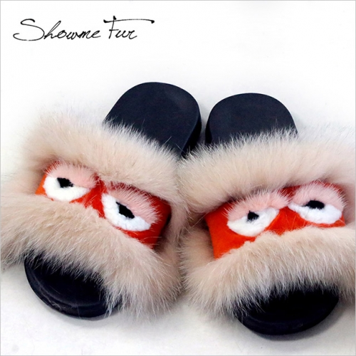 animal  fur Slipper women slippers fur slides