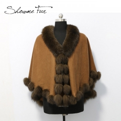 Cashmere Cape with Real Fox Fur Trim