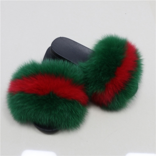Multi Color  Adult And Kid Size Fur Slippers Slides
