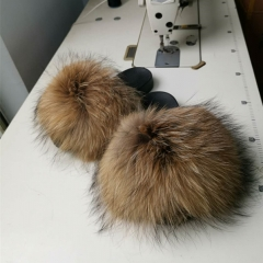 Raccoon Fur  Slippers Slides Adult and Kid Size