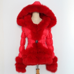 Puffer jacket with fur lines adult and kid size