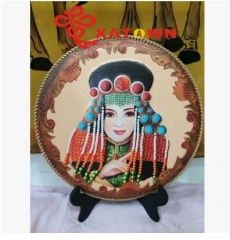 Mongolian leather painting,Inner Mongolia characteristics crafts,Imitation leather painting,Color hangs a picture,The disc to draw,