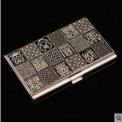 Business card holder, Stainless steel card case, Shell mosaic, Business gifts