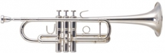 Hi-grade C Trumpet Brass Body Silver plated with F...