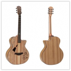 Plywood Acoustic Guitar Deadwood+Zebrawood Body Ch...