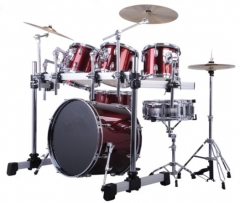 7-Pieces PVC Drum Sets Red Color 6-ply Shells Perc...