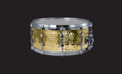 Hammered Yellow Brass Steel Snare Drums Solid Chro...