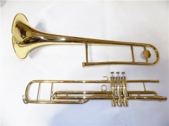 Piston Trombones C key Yellow Brass Musical instru...