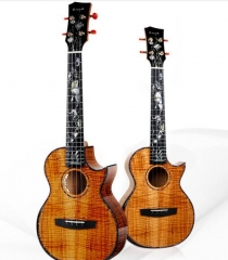 Enya Ukulele A8 with pickup Solid Tiger-stripes Hawaii KOA(3A) Body String Musical instruments Mainland supplier