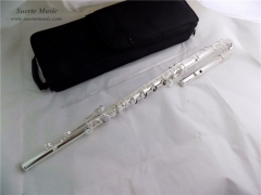 Bass Flute C Key 16 Closed Holes Silver plated Woo...