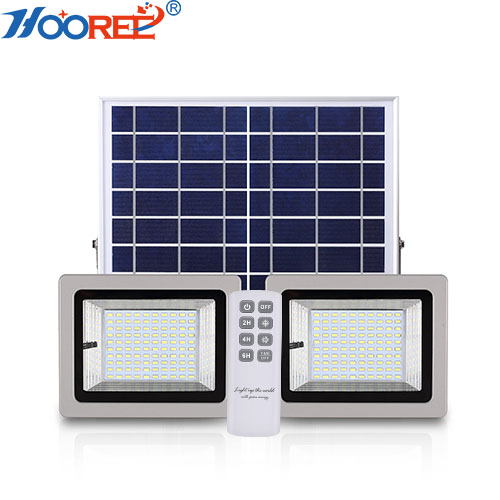 36W 64W 80W 100W dusk to dawn IP65 remote control solar LED flood light with two lamps for outdoor garden lighting