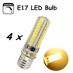 E17 LED Dimmable Bulb 5 Watts AC85-265V LED E17 Light 450lm Silicone Coated Lamp With 40W Halogen Bulb Replacement-Pack of 4
