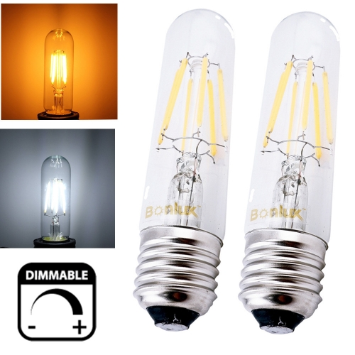 110V Dimmable T10 Tubular LED Filament Light Bulb E26 Vintage Edison Bulb for t10 Incandescent Bulb Replacment-Pack of 2