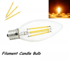 2W 4W 110V E17 LED Intermediate Base Light Filament Candle Bulb Chandelier Decorative Torpedo Shape Lamp-Pack of 5