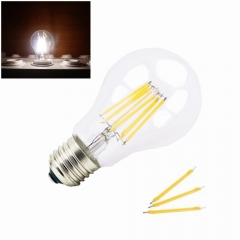 LED A60 110V 220V 4W 8W E27 Base LED Glass Filament Bulb Light Edison Style Lamp with 40W 75W Incandescent Bulbs Equivalent