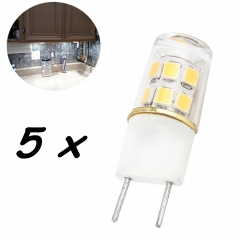 G8 LED Light Bulb 2W T4 G8 Base Led Crystal Lamp Replace 20W Halogen G8 for Under Counter Kitchen Lighting, Under-cabinet Light, Puck light-Pack of 5