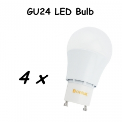 GU24 LED Bulb 5W 9W A19 A60 AC85-265V Light Lamp with Extruded Aluminum Heatsink Replace 60W Halogen Bulb-Pack of 4
