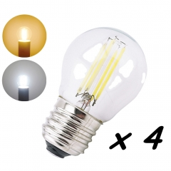 G45 E27 Screw Base LED Light Bulb 2W 4W Filament Bulb 360 Degree Beam Angle Energy Saving Glass Globe LED Lamp-Pack of 4