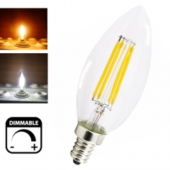 Dimmable E14 LED Filament Candle Light 2W 4W 220V European Base Candelabra Bulb LED Torpedo Shaped Candle Bulb
