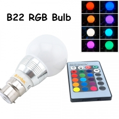 B22 RGB LED Bulb 3W A60 Bayonet Spotlight Bulb RGB LED Ball Light with RGB remote controller for Home Decoration/Bar/Party/KTV Mood Ambiance Lighting