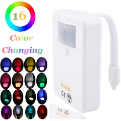 Motion Activated LED Colorful Motion Sensor Toilet Bowl Light - 16 Colors, Battery-operated Night Light for Home Hotel Toilet Bathroom
