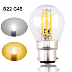 B22 G45 LED Filament Bayonet Light Bulb 4W 220V LED G45 B22 Glass Edison Retro Bulb for Ceiling Fan Chandelier Crystal Lighting-Pack of 4