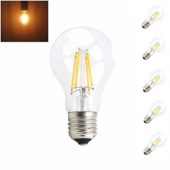 4W 8W 110V 220V A19 Medium Screw Base LED Vintage Light Bulbs Filament LED Bulb with 40W 75W Incandescent Bulb Replacement-Pack of 5